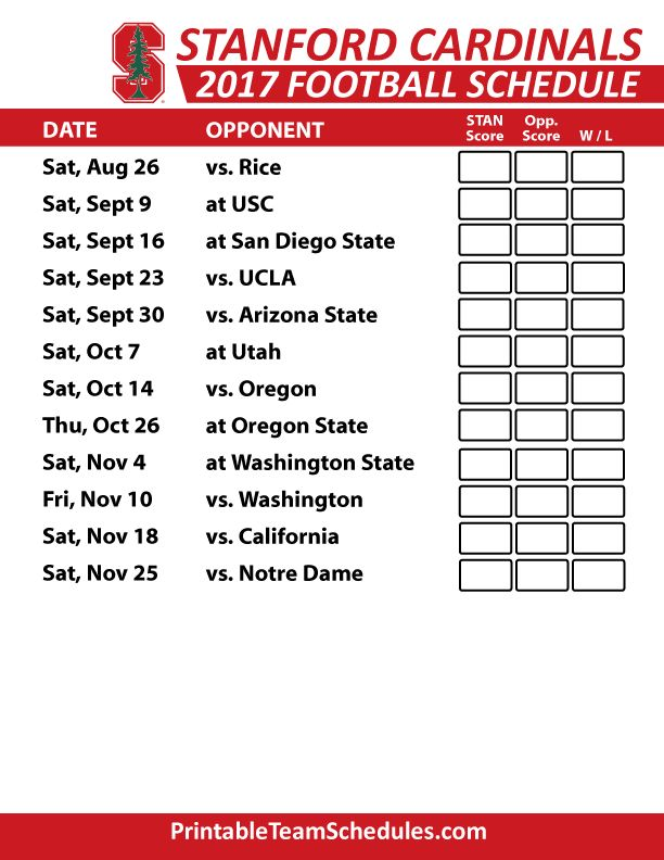 2017 Stanford Cardinal Football Schedule
