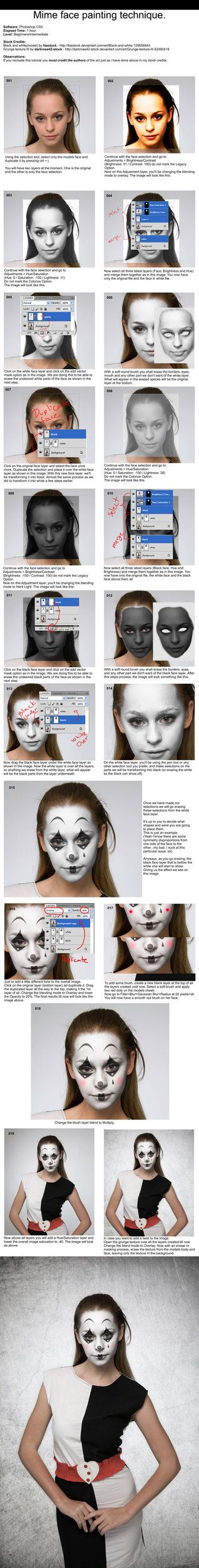Mime Face Painting Tutorial - Photoshop by =PSHoudini on deviantART