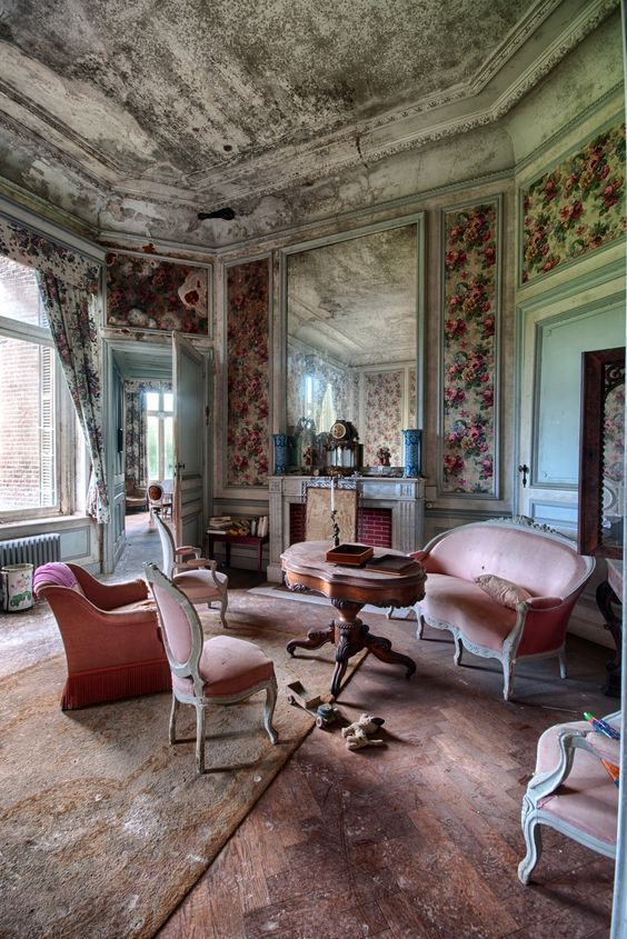 Abandoned mansion with furniture