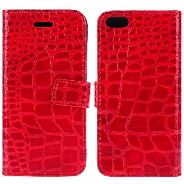Rood krokodillenleer bookcase hoesje voor iPhone 5 / 5s