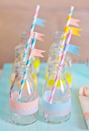 leuk voor een kinderfeestje, en zo herkent elk kind zijn drankje