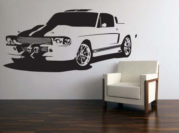 Vinyl Wall Decal Classic American Muscle Car 60s Ford Mustang GT 500