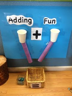 adding fun station: hang up two paper or styrofoam cups on a wall or poster with paper towel tubes attached and a basket or box on the floor. Kids put a different amount in each cup and then count the total that fall into the basket or box below
