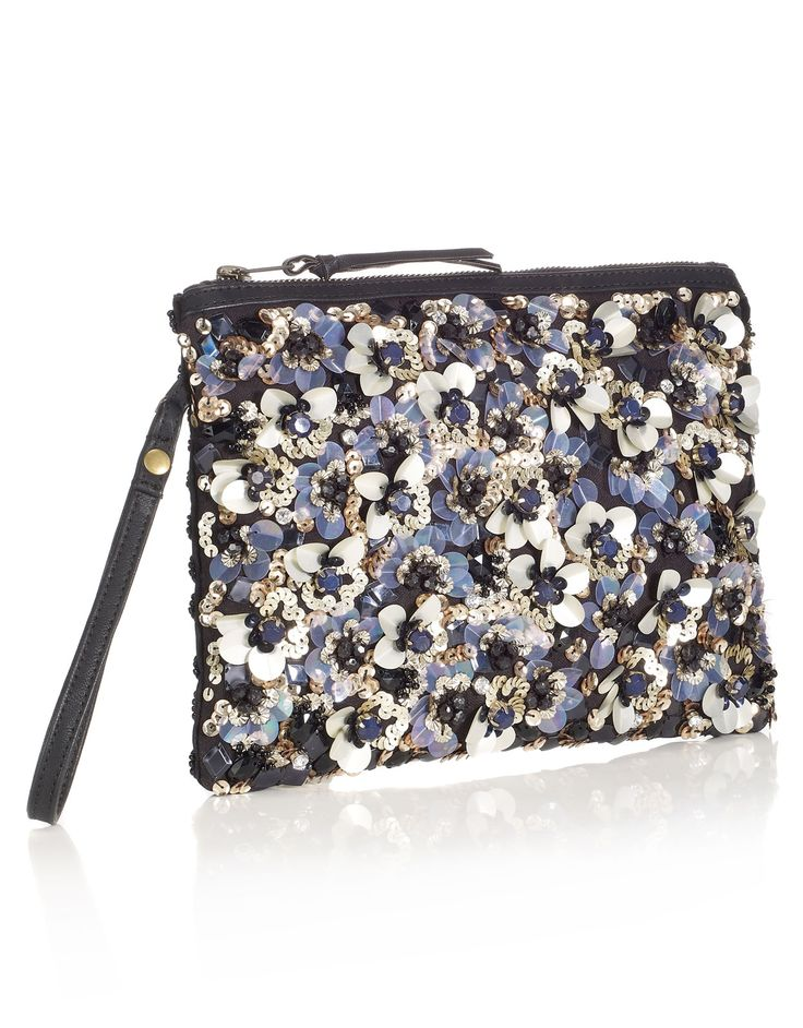 Daisy Encrusted Zip Top Clutch | Navy | Accessorize