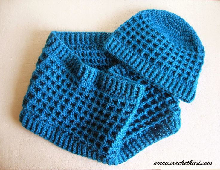 Waffle Stitch Knit Hat Pattern : Crochet waffle stitch scarf Tricot, tricotin et crochet Pinterest Croch...