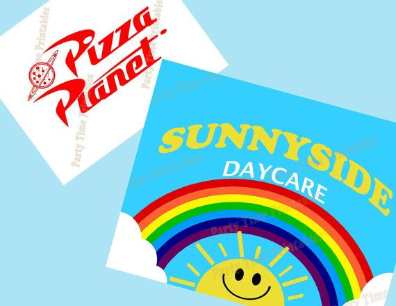 Toy Story Party - Pizza Planet and Sunnyside Printable Party Signs