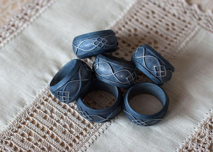 Купить Резные деревянные кольца для салфеток Ручная работа Грифельный Серый - темно-серый, грифельный