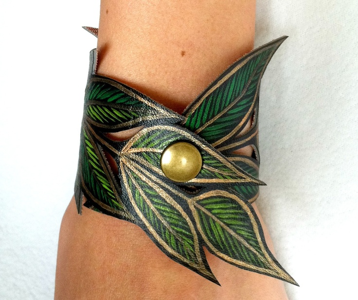 Spring Leaf Bracelet, Gold Green Leaf Cuff Faux Leather Hand Painted, Handmade Jewelry, Leaf Jewelry, Gifts for her. $23.00, via Etsy.