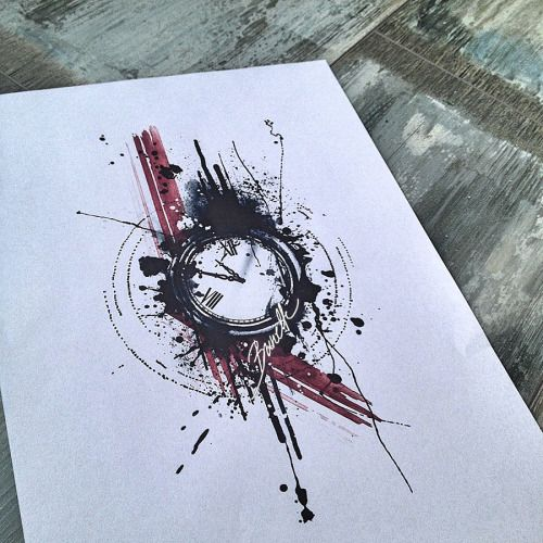 Abstract watercolor trash polka clock tattoo design