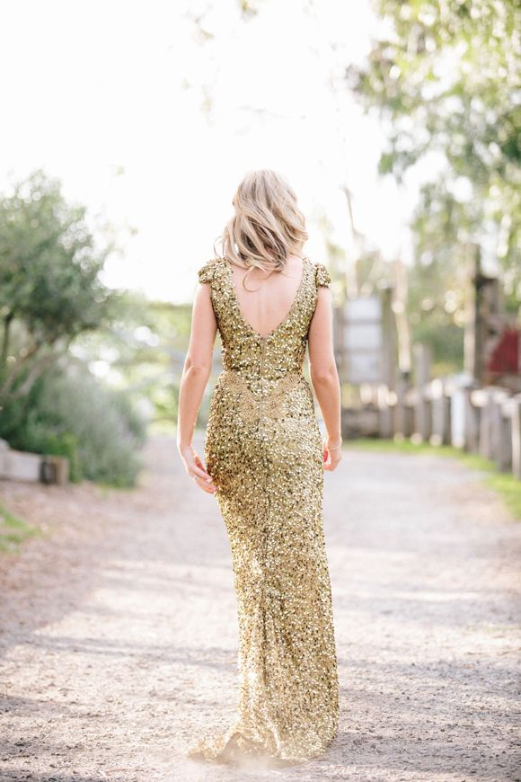 Bride wearing Gold sequin wedding dress by Anita Moore from Smith and RoseChic.