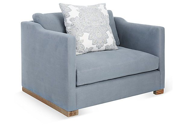 cara chair and a half dusty blue take a seat one kings lane for the home pinterest. Black Bedroom Furniture Sets. Home Design Ideas