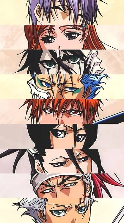 Eyes of characters in Bleach. From top to bottom...Gins' are unceasing. Orihimes' are warming. Ulquiorras' are overpowering. Grimmjow's are preying. Ichigos' are engulfing. Rukias' are piercing. Byakuyas' are disdainful and overbearing. Renjis' are resolute. Hitsugayas' are calculating fervent.