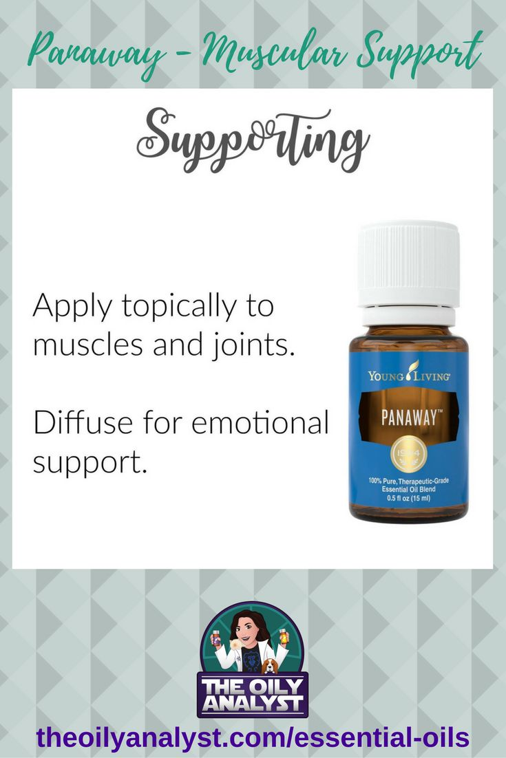Panaway Essential Oil Blend!  This oil comes in the Premium Starter Kit and is over $35 by itself at wholesale price!  Have you tried it? If not, you need to check out the benefits of this oil! | Essential Oils | Young Living | Chemical Free | Green Living | All Natural | Seed to Seal | Muscular Support | Emotional Support