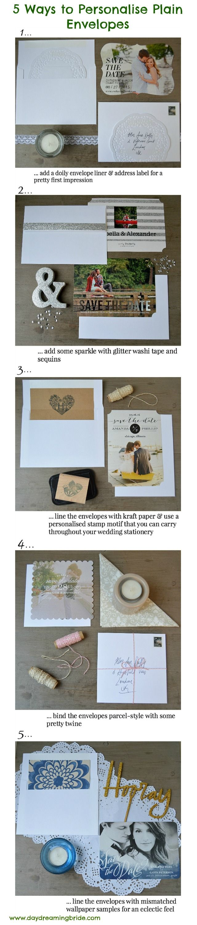 5 ways to personalise or embellish plain or cheap envelopes for wedding stationery. Make your save the dates, invitations and RSVPs even more special!