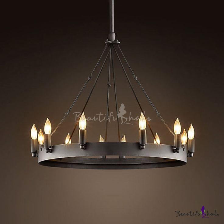 Vintage Black 12 Light Wrought Iron Chandelier