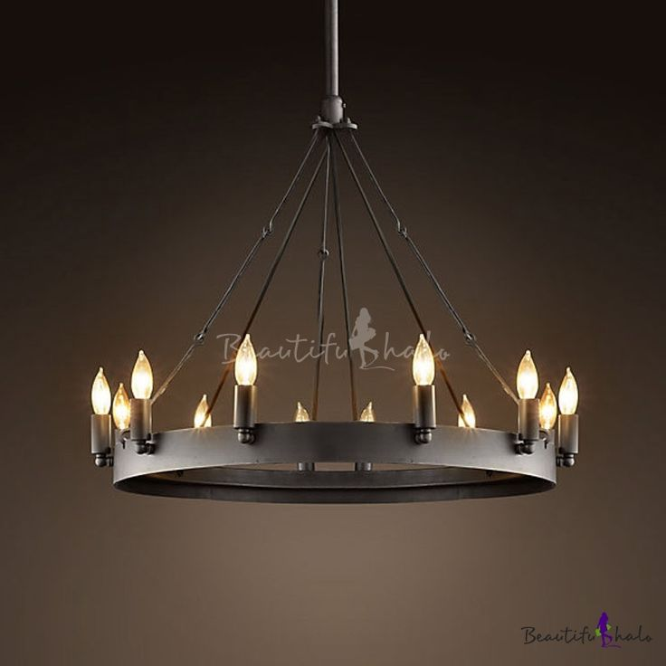 Vintage Black 12 Light Wrought Iron Chandelier - Beautifulhalo.com
