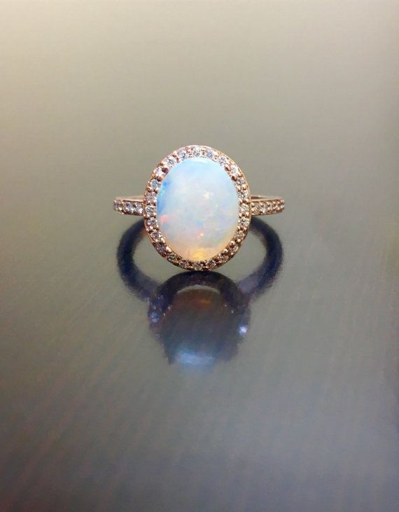 18K Rose Gold Halo Diamond Opal Engagement Ring by DeKaraDesigns