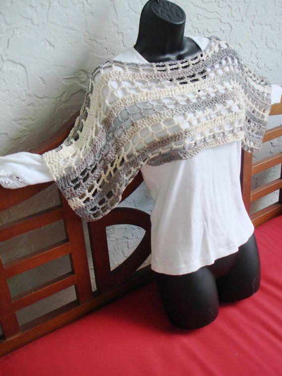 hand crochet shrug capelet shoulder wrap multi tone
