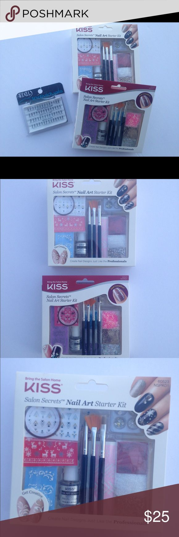 Ardell lashes + 2 kiss nail starter kit LOT New in box 2 salon secrets nail starter kits-includes glitter, glue, brushes and stickers. Ardell individuals lashes ardell Makeup False Eyelashes