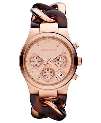 Michael Kors Watch, Women's Chronograph Tortoise Acetate and Rose Gold-Tone Stainless Steel Bracelet 38mm MK4269