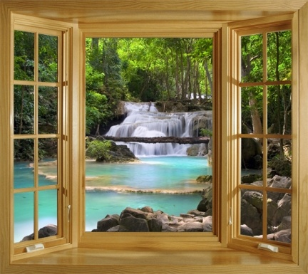 Window Scene View Of A Waterfall In The Tropical Forest In