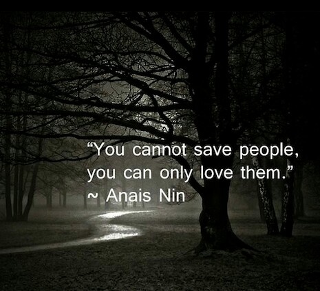 """""""You cannot save people, you can only love them."""" Anais Nin"""