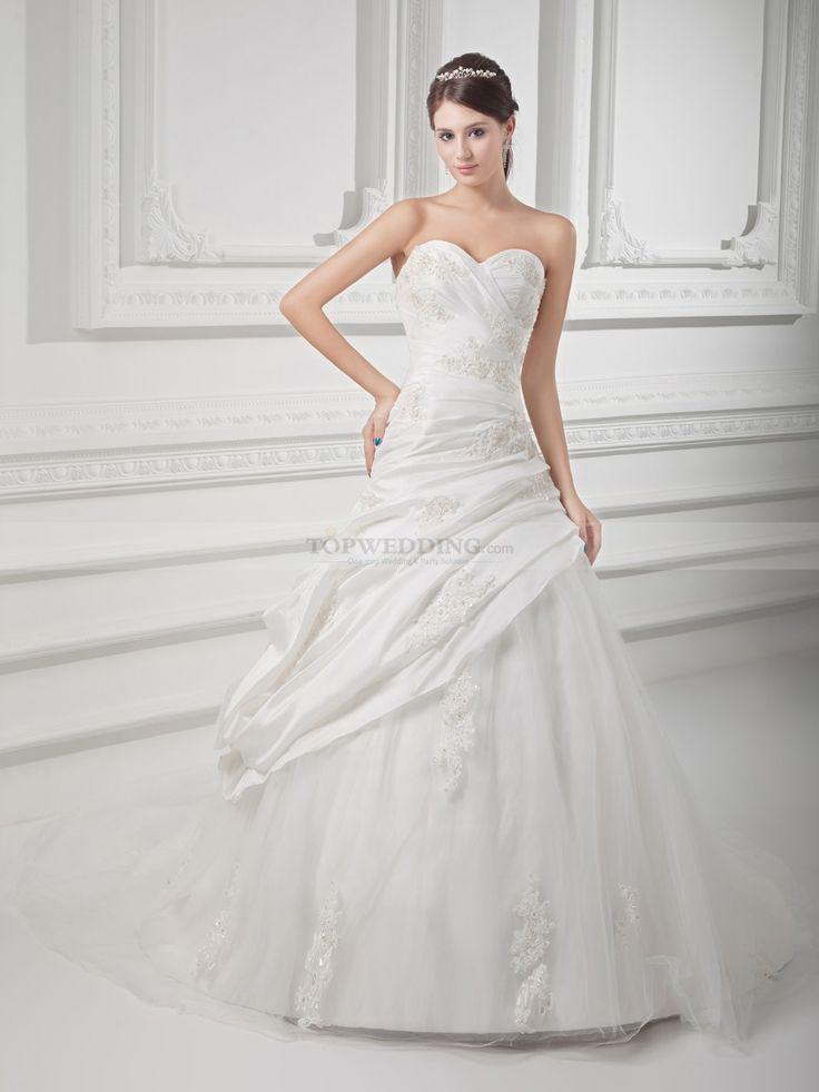 Avery - В виде сердца тафта принцесса подвенечное платье с аппликация