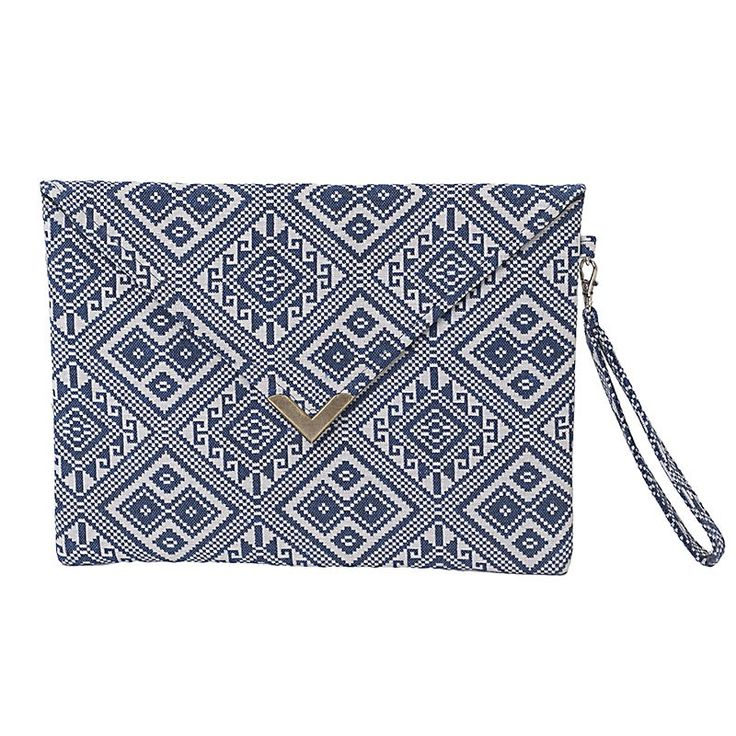 FABRIC HANDBAG IN BLUE-WHITE COLOR 28X18.5 - Bags