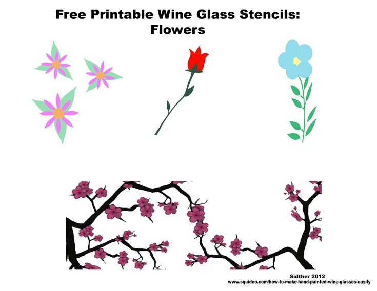 Free printable stencils for wine glass painting party for Printable stencils for canvas painting