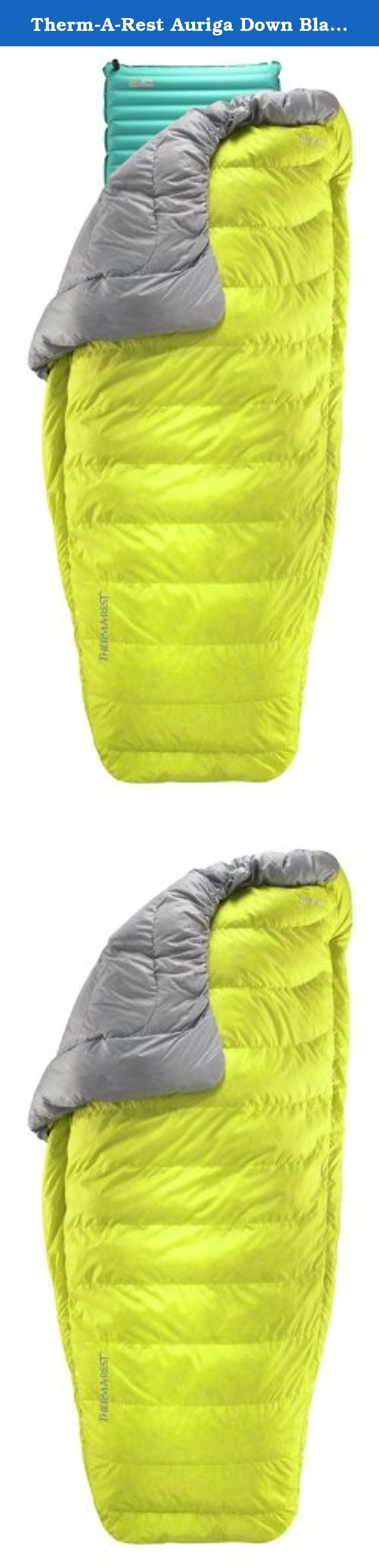 Therm-A-Rest Auriga Down Blanket, Sulfur, Regular. New for 2014: The Therm-a-Rest Auriga 35 Degree (2C) Down Blanket is ideal for ultralight backcountry travel in mild weather and also makes a great option for hut-to-hut traverses in any season. Delivering excellent temperature regulation and freedom of movement at just over a pound, the Auriga offers unprecedented comfort in minimalist situations.