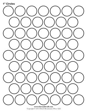 1 inch Circle Template Printable and many other sizes!