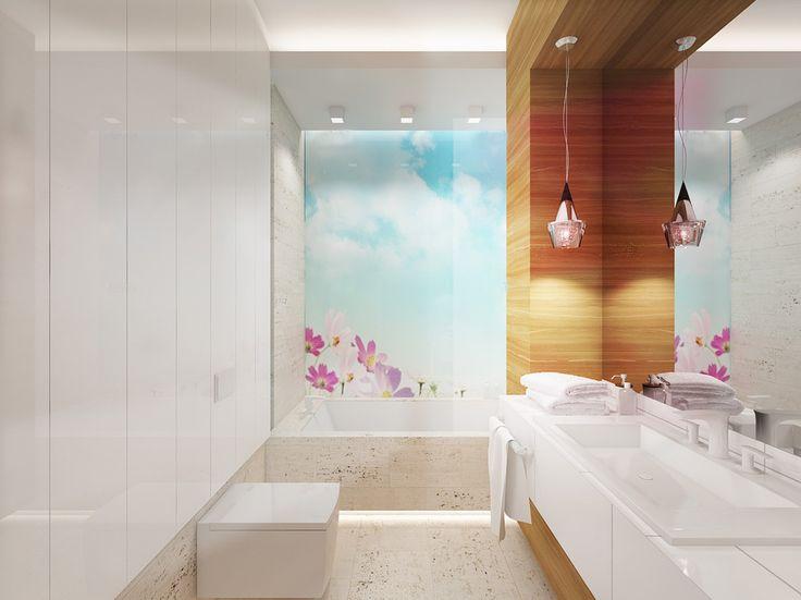 Projekt wnętrza łazienki z akcentem kolorystycznym  - Tissu. Materiałem dominującym jest kamień naturalny oraz drewno. Lekkie akcenty kolorystyczne w postaci fototapety na szkle oraz białych mebli ożywiają wnętrze. http://www.tissu.com.pl/zdjecia/263,apartament-musniety-subtelnoscia-warszawa-wilano-w-110m2