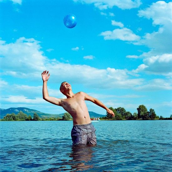 Evzen Sobek, 'Boy with Ball' from the series 'Life in Blue' currently on show at ClampArt, NYC