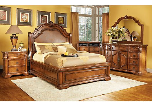 Rosabelle King Dark Pecan 5pc Panel Bedroom New Master