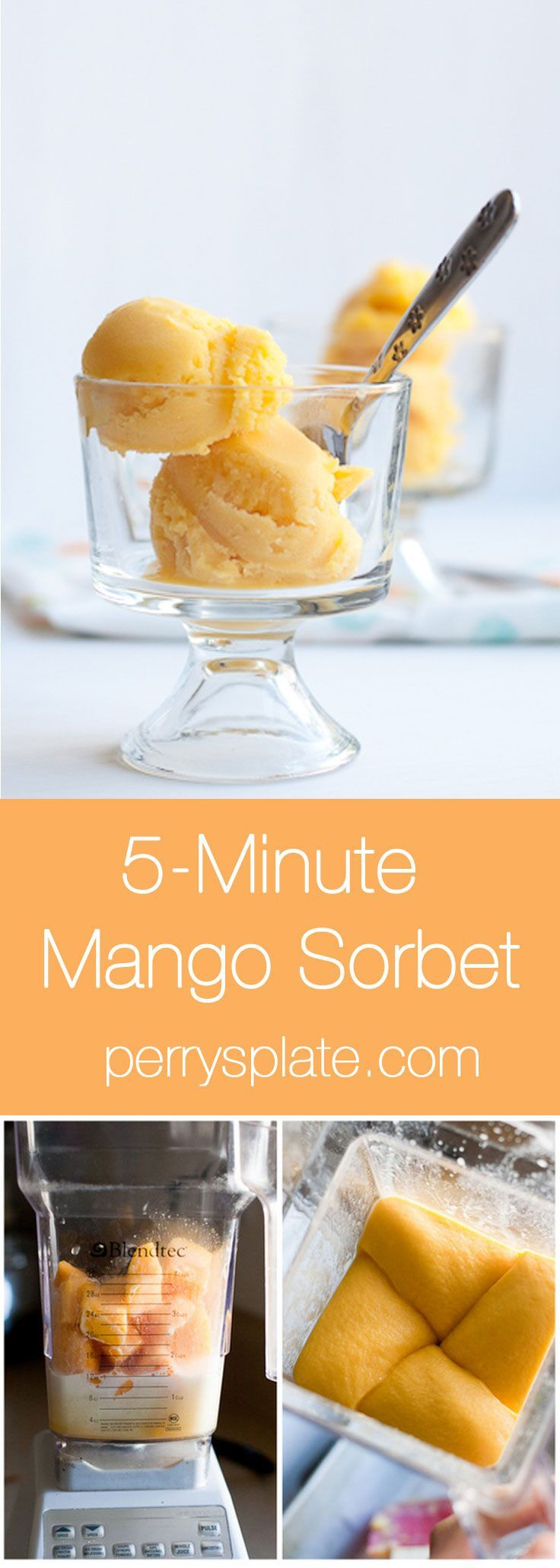 Fast and Easy Mango Sorbet you can make in a blender!   mango recipes   paleo dessert recipes   perrysplate.com