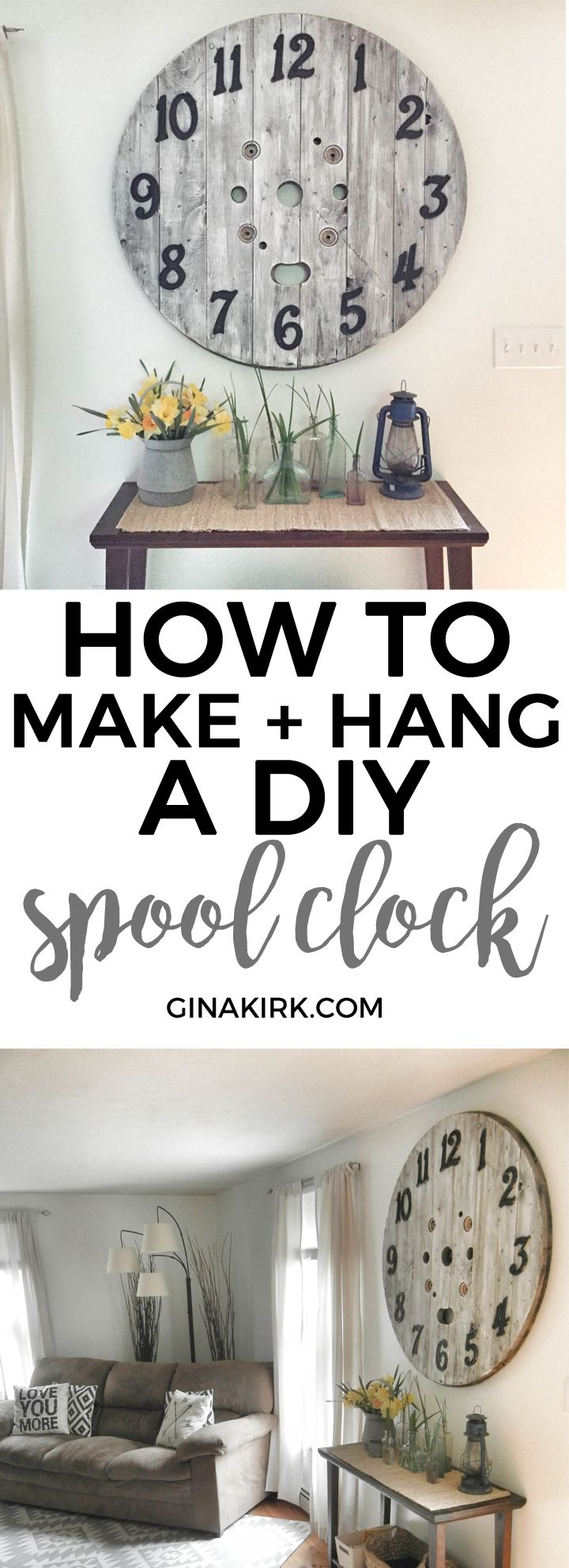 Weekend project: How to make a DIY spool clock | DIY rustic spool clock tutorial | Oversized home decor idea!
