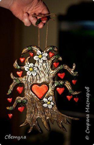 Поделка изделие Валентинов день Лепка Дерево любви Краска Тесто соленое фото 1