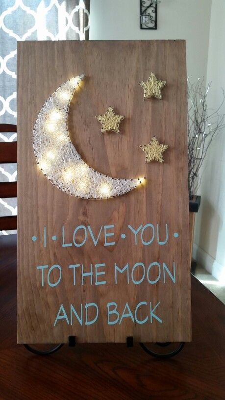 Light up I love you to the moon string art sign