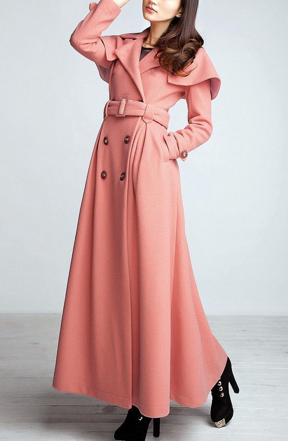Pink / Black wool women coat women fashion coat by happyfamilyjudy