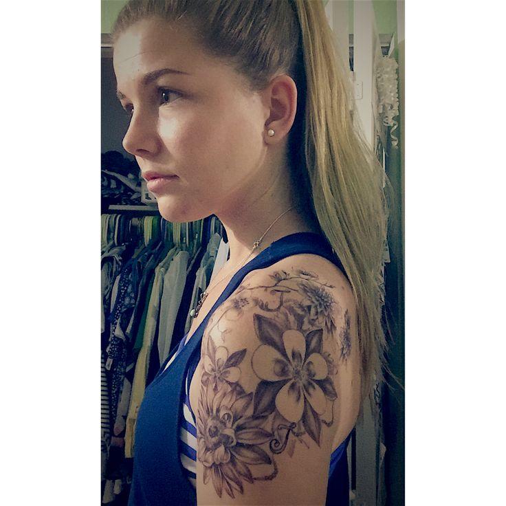 Shoulder tattoo for women Black and grey flowers  Mum, Sunflower, Columbine, Cherry blossom