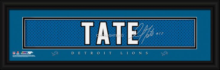 Golden Tate Detroit Lions Player Signature Stitched Jersey Framed Print