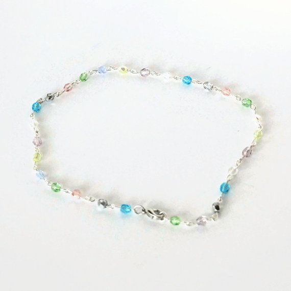 Small Crystal Anklet Delicate Beaded Anklet by KrykimoeKreations
