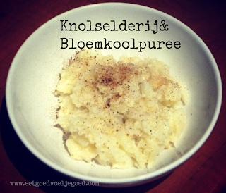 Knolselderij & bloemkoolpuree (ipv aardappelpuree)