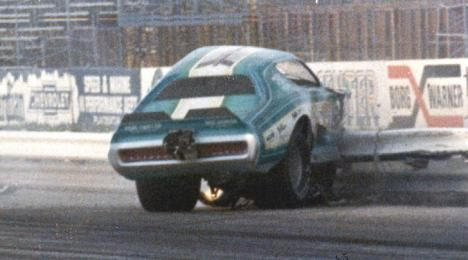 The Nelson Carter series of Super Chief funny car was very popular with drag racing fans. Carter's drag racing career came to an unexpected and abrupt end with this crash. Carter had hired tuner Steve Bernd to drive the latest Super Chief at Orange County International Raceway. The crash was caught on film and can be seen in the Jim Dunn movie Funny Car Summer.