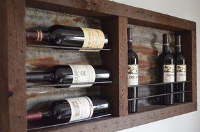 Esta lata es preciosa!!  Nuevo diseño - un único rústico 8 vino botellero. Colocar 3 de sus mejores en el lado izquierdo y manten sus adicionales 5 botellas de pie a la derecha. Es lata oxidada de los techos de granero, hermosa pátina que varía con cada rack. Partes son de 100 + años graneros de oeste medio, hermosa combinación para mostrar sus vinos. Botellas se basan en 1/4 acero/pintado con una pintura negra. Botellas a derecha Acomódesela y permanecerán segura.  No necesariament...