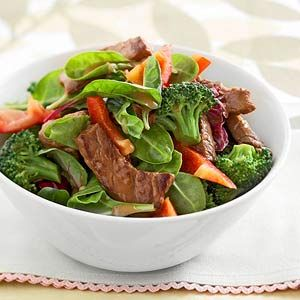 Gingered Beef & Broccoli Salad Bowl This five-ingredient beef and broccoli main-dish recipe can be prepared in less than 30 minutes. Bottled ginger salad dressing makes a simple and delicious sauce.