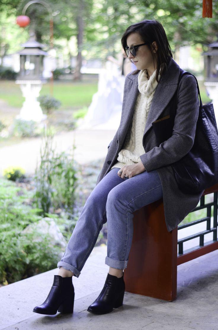 #fashion #zara #grey #coat #boyfriend #jeans #jumper