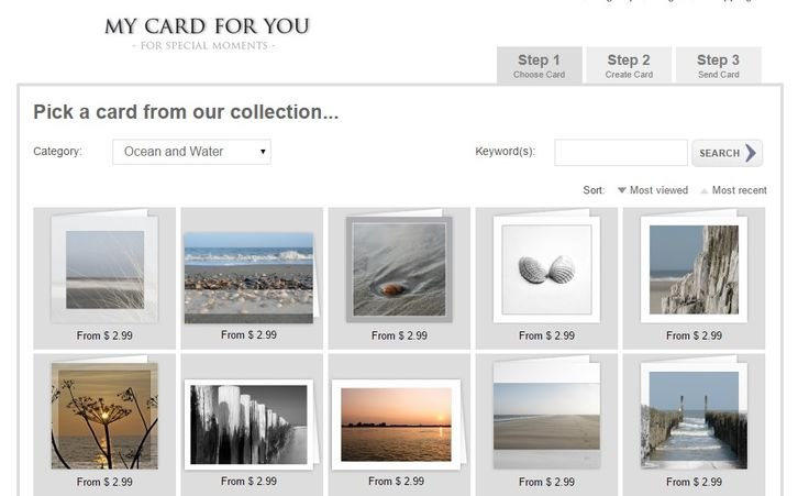 Beautiful Greeting Cards with photo's of the sea, ocean, water! www.mycardforyou.com