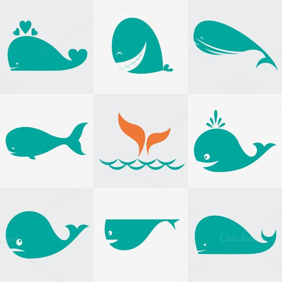 Set of vector whale icons by yod67 on @creativemarket