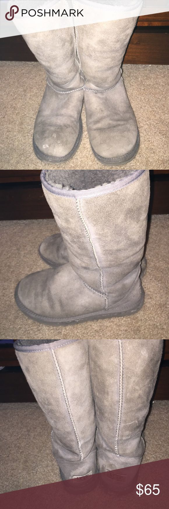 Ugg boots GUC charcoal grey Ugg boots. Slight water marks and snow marks throughout. Basic wear and crease by toe area. Can be removed with basic Ugg suede cleaner. Please ask for more pics if interested and I'll be happy to update post. UGG Shoes Winter & Rain Boots